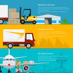 Set of Horizontal Cargo Delivery Banners, Transportation and Air Cargo Services and Storage, Warehouse , Air and Land Freight, Vector Illustration