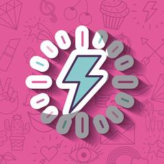 lightning ray girly icon over background image vector illustration design