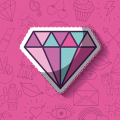 diamond girly icon over background image vector illustration design
