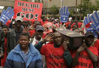 MDC supporters carry a mock coffin as they protest outside the venue of the SADC meeting in Sandton