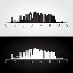 Columbus USA skyline and landmarks silhouette, black and white design.