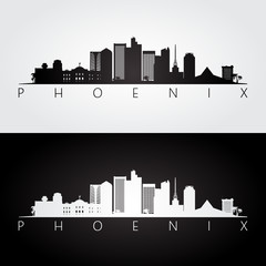 Phoenix USA skyline and landmarks silhouette, black and white design.