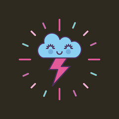 happy cloud and lightning girly icon image vector illustration design
