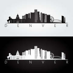 Denver USA skyline and landmarks silhouette, black and white design.