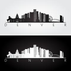 Denver USA skyline and landmarks silhouette, black and white design.