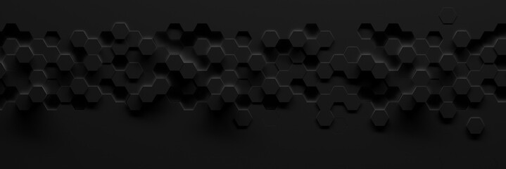 Extra-dark wide hexagonal background (3d illustration)