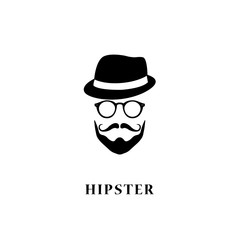 Man hipster style. Vintage hat, beard, moustache and glasses.