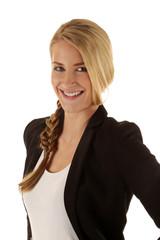 Frau mit blonden Haaren und Zopf
