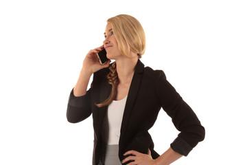 Frau mit Telefon am Ohr