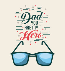 dad you are my hero fathers day related icons and lettering image vector illustration design