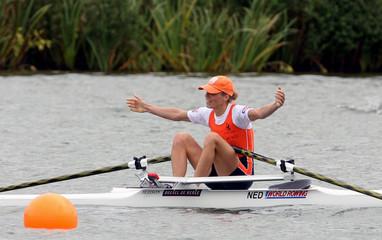 Van Eupen of Netherlands celebrates winning lightweight women's single sculls finals at World Rowing Championships in Eton