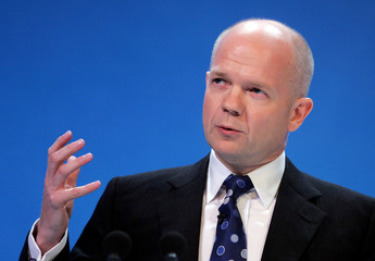 Hague, Shadow Foreign Secretary of Britain's opposition Conservative Party speaks at annual Conservative party conference in Bournemouth