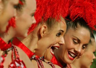 Members of Moulin Rouge perform in New Delhi