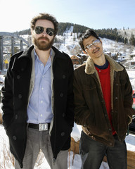 Danny Masterson and Gregg Araki pose during a photo-call for the movie Smiley Face during the 2007 Sundance Film Festival in Park City