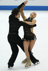 Kerr and Kerr of Britain perform during the Ice Dance Compulsory Dance competition at the ISU Grand Prix of Figure Skating NHK Trophy in Nagano