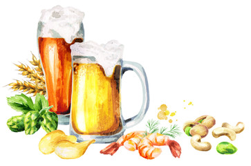 Beer and snacks card, watercolor