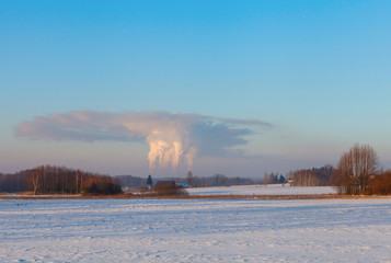 Carbon dioxide emission into atmosphere, Belchatow, Poland