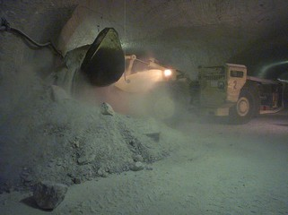 A excavator carries salt chunks during a press presentation of the 840 metre deep and 6,5 kilometre ..
