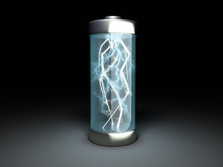 Battery charging Battery charge on black 3d illustration