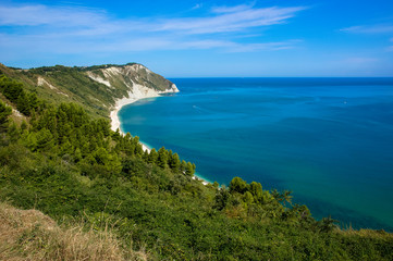 View of the Adriatic coast in the Marche region of Italy. Beach called Mezzavalle near the town of Ancona.