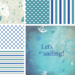 Let's go sailing. Set of seamless patterns.