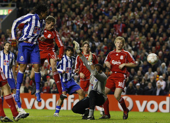 Liverpool's Crouch scores against Porto during their Champions League Group A soccer match at Anfield in Liverpool