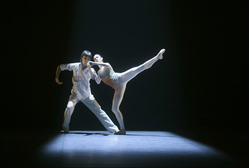 Dancers Ruben Ventoso and Isabelle Brusson perform Victor Ullate's choreography La pastoral during a dress rehearsal in Madrid