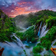 Fairytale, misty morning over waterfalls in Plitvice park, Croatia