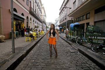 Brazilian prostitute models fashion creation by NGO Davida in Rio de Janeiro's Tiradentes Square
