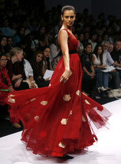 A model presents a creation from Indian designers Gauri and Nainika's Autumn/Winter 2008 collection in New Delhi
