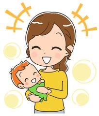幸せそうな赤ちゃんと母親のイラスト