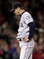 Seattle Mariners Moyer stands on the mound after Boston Red Sox Ortiz home run.
