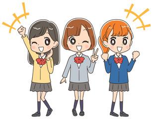 元気な女子高生のイラスト(全身)