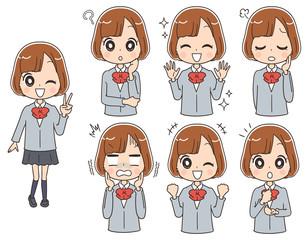 女子高生のイラスト(全身・セット)