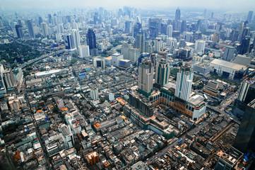 Aerial view of Bangkok modern office buildings, condominium in Bangkok city , BKK, Tailand