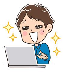 輝く男性とパソコン