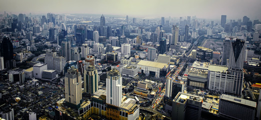 Aerial view of Bangkok modern office buildings, condominium in Bangkok city , BKK, Tailand