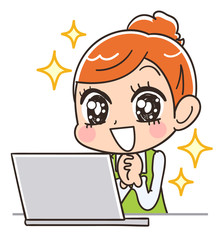 パソコンと嬉しそうな主婦