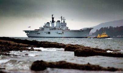 HMS ARK ROYAL SAILS UP LOCH LONG IN SCOTLAND.