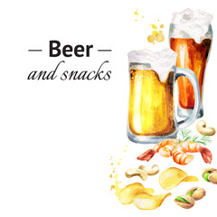Beer and snacks template. Watercolor