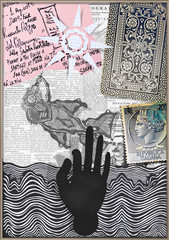 Collage with mysterious and esoteric designs, hand and fish