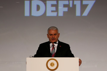 Turkish Prime Minister Binali Yildirim speaks during the opening ceremony of IDEFÕ17 in Istanbul
