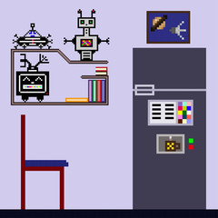 Interior of the room in the style of pixel art. Robots on the shelf, modern refrigerator and picture demonstrate the evolution and achievements of artificial intelligence