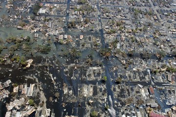 An aerial view of a neighborhood in New Orleans after it was hit by Hurricane Katrina.