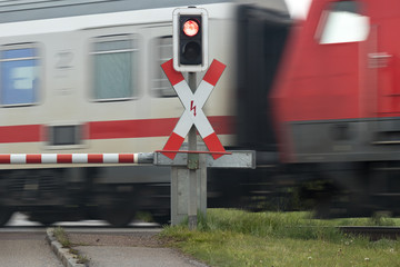 Fast Train at Railroad Crossing in Germany