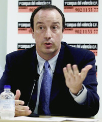 VALENCIA'S NEW COACH BENITEZ GESTURES DURING PRESENTATION IN VALENCIA.