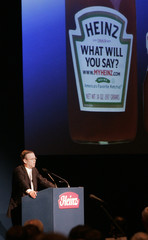 H.J. Heinz Co. Chief Executive William Johnson addresses the audience at the annual shareholder's meeting in Pittsburgh, Pennsylvania