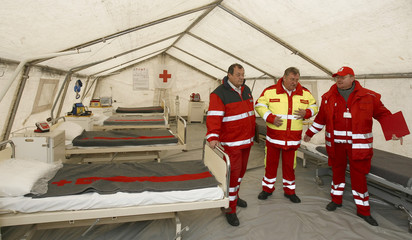 Paramedics stand in a mobile hospital tent set up next to Ernst Happel stadium during a presentation of Euro 2008 emergency precautions in Vienna