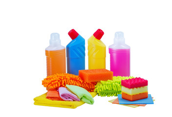 Cleaning service.Basket with sponges,chemicals bottles,detergent,rads for cleanup.
