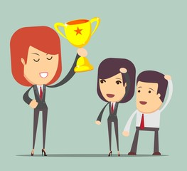 Successful business concept. Businesswoman standing with award. Vector illustration in flat style.